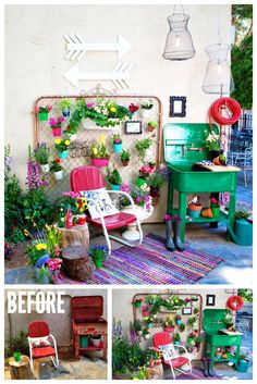 Trash to Treasures Garden Space - www.classyclutter.net