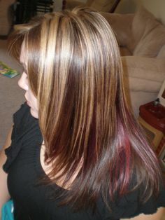 blonde highlights with peekaboo red