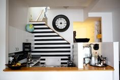 house tours, stripe kitchen, wall decals, small kitchens, black white, feature walls, accent walls, kitchen walls, white kitchens