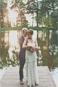 lakeside wedding, photo by Hazelwood Photo http://ruffledblog.com/two-artists-marry-atop-columbia-gorge #weddingportrait
