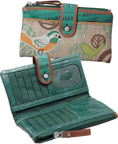 Fossil wallet - clutch - turquoise - bird - leather