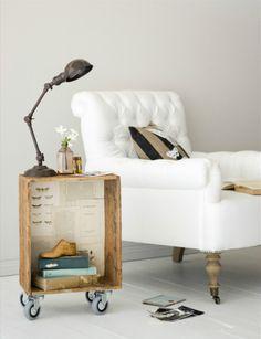 lamp, wood box on wheels