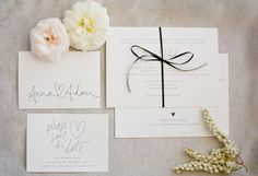 paper Cream invitations save the date simple ribbon natural