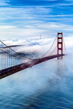 Golden Gate Bridge through the fog.