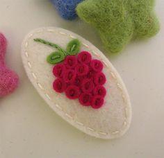 NO+SLIP+Wool+felt+hair+clip+Raspberry+ecru+by+MayCrimson+on+Etsy,+$8.00