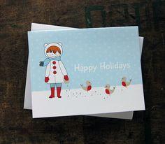 Girl Feeds the Birds Happy Holidays card $4