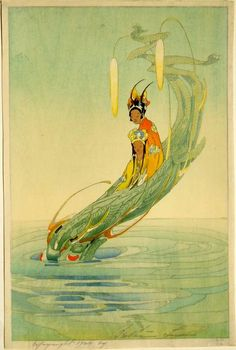Bertha Lum 1924 Woodblock prints (Estampes) :: The Dragon King and his Bride