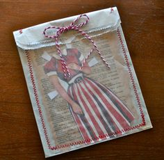 Gift envelope using...Vintage Sandwich bags, vintage papers and the Family Fun Accessory Kit.
