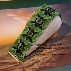 Honu Sea Turtle Odd Count Peyote PDF Pattern | AngelqueCreations - Jewelry on ArtFire