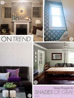 Moroccan Wall stencils in allover patterns from Royal Design Studio dress up walls in shades of gray