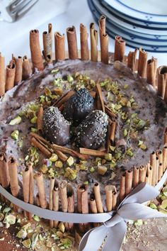 This Rawsome Vegan Life: berry ice cream cake with chocolate eggs, pistachios and cinnamon