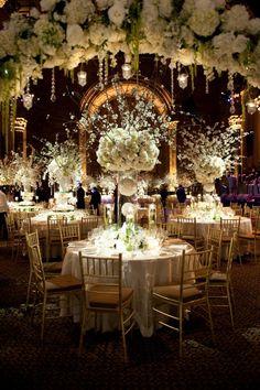 tall white centerpieces by Tantawan Bloom, wedding reception decor #wedding #indianwedding