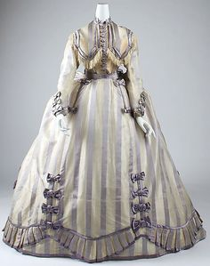 1867-1869 piña cloth and silk Dress by Depret, French.