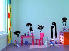 6 Piece Funny Monster Set kids room vinyl wall decal graphic sheet set 22x28 Home Decor. $24.99, via Etsy.