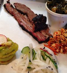 The miso brisket at Heirloom BBQ is phenomenal. And pickled green tomato kimchee may be my new fave BBQ brisket condiment. #Atlanta