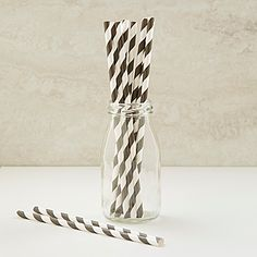 Our Black Striped Paper Straws feature a trendy black stripe design imprinted on these white straws. Use these at your #PirateParty