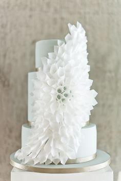 white origami wedding cake by Olofson Design