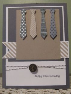 Stampin' Up Handmade Greeting Card: Masculine Valentines Day (?? red & pink ties)
