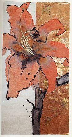 Artist: Robert Kushner Title: Day Lily Medium: Ink, acrylic, and metal leaf on handmade Japanese paper