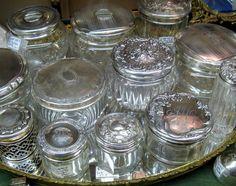leaded glass, vaniti jar, antique silver