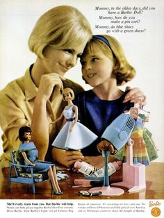 A heartwarmingly sweet mother-daughter ad from 1965 for Barbie dolls. #vintage #retro #1960s #toys #ads #Barbie