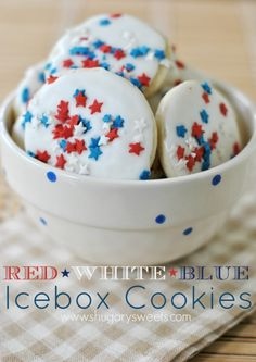 Red, White and Blue Icebox Cookies: Easy sugar cookies stored in the freezer. When ready, bake, add glaze and sprinkles! ENJOY!