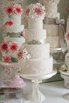 Roses and lace wedding cakes by Consultations by Cotton and Crumbs, #wedding #cake