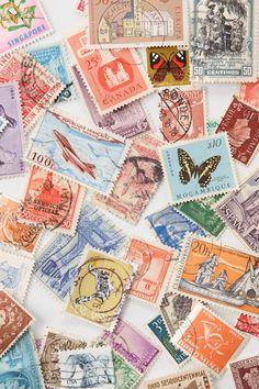 vintage stamps . mail