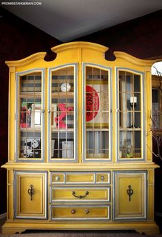 China Cabinets - refinishing / affordable new options. love the color! decor, craft, china cabinets, colors, how to make china hutch, cabinet refinishing, paint, hous, furnitur