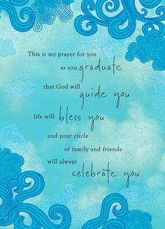 Blue Pattern Graduation Prayer Graduation Card