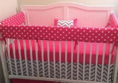 Crib Bedding Set Fuchsia And Gray Chevron by butterbeansboutique