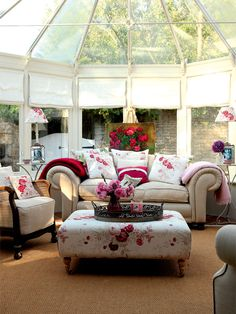 ❥ 18th century vicarage in Lincolnshire~ love the ottoman, chair, fabrics
