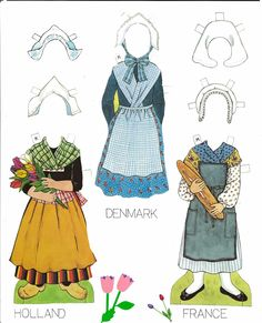 Traditional Folk Costumes of Europe 4 of 10 DENMARK and FRANCE and HOLLAND