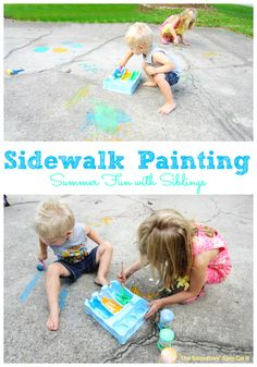 Summer Activity - Sidewalk Paint, a great sibling activity