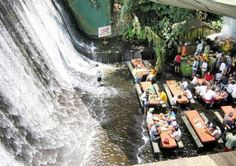 I want to go to there.  Amazing Waterfall Restaurant in Philippines