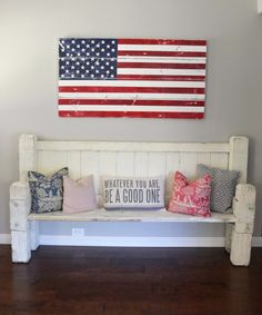 Distressed wood american flag by barn owl primitives.