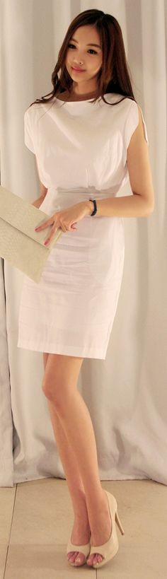 Luxe Asian Women Design Korean Model Fashion Style Shoulder Slit White Dress