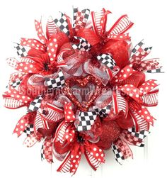 Deco Mesh Valentine Wreath Red White Heart Door Wreath by www.southerncharmwreaths.com