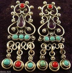 Taxco Mexican Sterling Silver Vintage Design Amethyst Earrings Mexico