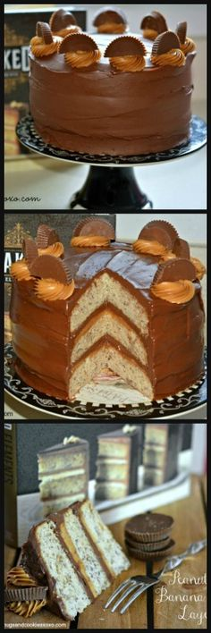Triple Layer Banana Cake With Peanut Butter Filling & Ganache - Hugs and Cookies XOXO
