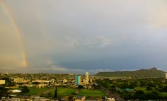 Rainbow behind Diamond Head...One of our favorite scenes in #MyHometownPins.  #gohawaii #honolulu