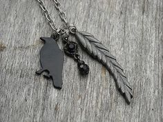 Gothic Black Raven Charm Necklace by InkandRoses13