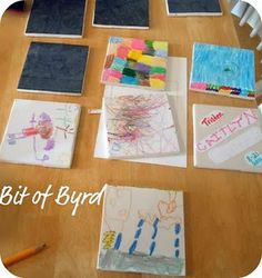 Tile coasters of the kids' artwork - the perfect grandparent gift!
