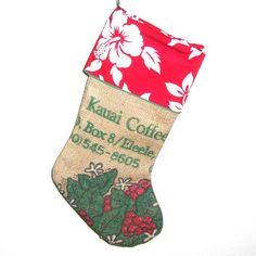 Kauai Coffee Christmas Stocking by SasakiBags on Etsy, $30.00