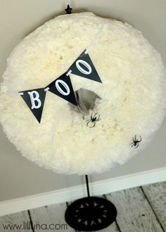 BOO Coffee Filter Wreath Close Up