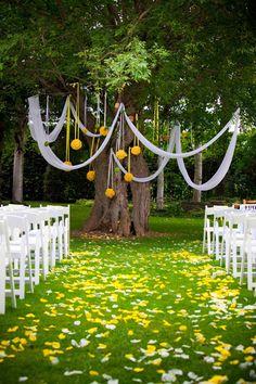 decor, outdoor wedding backdrop, wedding ceremonies, idea, tree, color, altar backdrop, wedding bells, mason jars