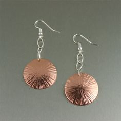 Chased Copper Disc Earrings on Etsy