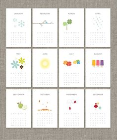 "2013 printable calendar by ""bits + pieces"" by ashley delaney"