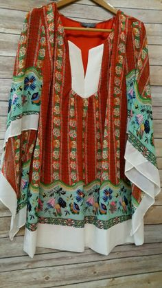 Umgee Plus Flower Child Boho Bell Sleeve Tunic sz XL Orange NWOT