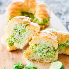 Avocado Chicken Croissants – a refreshing avocado chicken salad with lime, red onions and cilantro over delicious croissant.